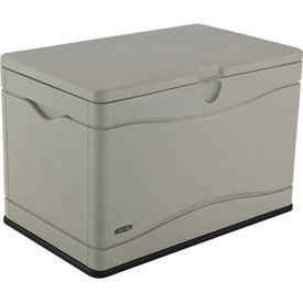 Lifetime 60059 Outdoor Deck Storage Box 80 Gallon. Sand w/Black Bottom