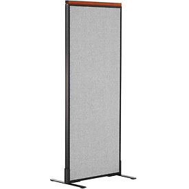 """Deluxe Freestanding Office Partition Panel, 24-1/4""""W x 61-1/2""""H, Gray"""