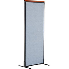 "Deluxe Freestanding Office Partition Panel, 24-1/4""W x 61-1/2""H, Blue"