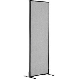 "Freestanding Office Partition Panel, 24-1/4""W x 72""H, Gray"