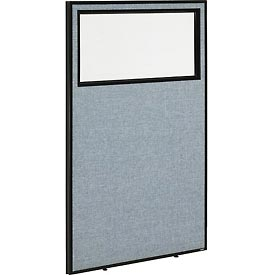 "Office Partition Panel with Partial Window, 36-1/4""W x 60""H, Blue"