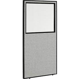 "Interion™ Office Cubicle Partition Panel with Partial Window, 36-1/4""W x 72""H, Gray"