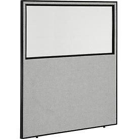 """Interion™ Office Cubicle Partition Panel with Partial Window, 60-1/4""""W x 72""""H, Gray"""