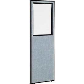 """Office Partition Panel with Partial Window, 24-1/4""""W x 72""""H, Blue"""