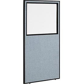 "Interion™ Office Cubicle Partition Panel with Partial Window, 36-1/4""W x 72""H, Blue"