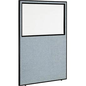 "Office Partition Panel with Partial Window, 48-1/4""W x 72""H, Blue"