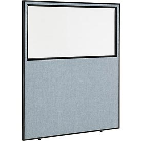 "Interion™ Office Cubicle Partition Panel with Partial Window, 60-1/4""W x 72""H, Blue"