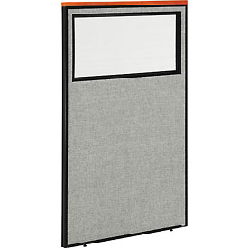 "Interion™ Deluxe Office Cubicle Partition Panel with Partial Window, 36-1/4""W x 61-1/2""H, Gray"