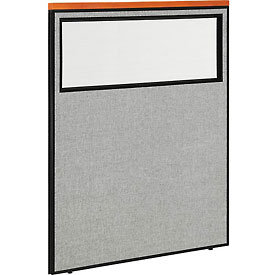 "Deluxe Office Partition Panel with Partial Window, 48-1/4""W x 61-1/2""H, Gray"