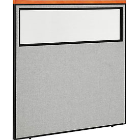 "Interion™ Deluxe Office Cubicle Partition Panel with Partial Window, 60-1/4""W x 61-1/2""H, Gray"