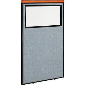 "Deluxe Office Partition Panel with Partial Window, 36-1/4""W x 61-1/2""H, Blue"