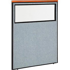 "Deluxe Office Partition Panel with Partial Window, 48-1/4""W x 61-1/2""H, Blue"