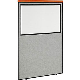 "Deluxe Office Partition Panel with Partial Window, 48-1/4""W x 73-1/2""H, Gray"