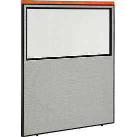 "Deluxe Office Partition Panel with Partial Window, 60-1/4""W x 73-1/2""H, Gray"