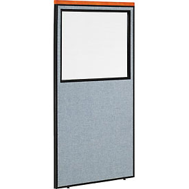 "Interion™ Deluxe Office Cubicle Partition Panel with Partial Window, 36-1/4""W x 73-1/2""H, Blue"
