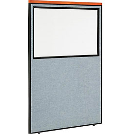 "Interion™ Deluxe Office Cubicle Partition Panel with Partial Window, 48-1/4""W x 73-1/2""H, Blue"