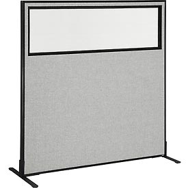 "Freestanding Office Partition Panel with Partial Window, 60-1/4""W x 60""H, Gray"