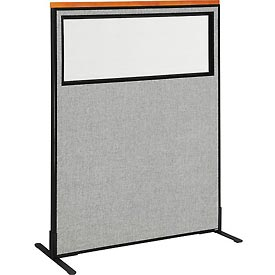 "Deluxe Freestanding Office Partition Panel with Partial Window, 48-1/4""W x 61-1/2""H, Gray"