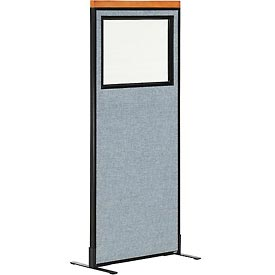 "Deluxe Freestanding Office Partition Panel with Partial Window, 24-1/4""W x 61-1/2""H, Blue"