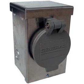 Generac 6346 30-A 125/250V Aluminum Power Inlet Box W/Spring Loaded Flip Lid by