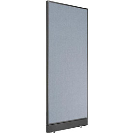 "Non-Electric Office Partition Panel with Raceway, 24-1/4""W x 64""H, Blue"