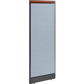 "Deluxe Office Partition Panel with Pass Thru Cable, 24-1/4""W x 65-1/2""H, Blue"