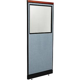 "Deluxe Office Partition Panel with Partial Window & Raceway, 24-1/4""W x 77-1/2""H, Blue"