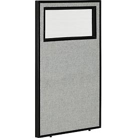 "Office Partition Panel with Partial Window, 24-1/4""W x 42""H, Gray"