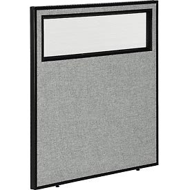 "Interion™ Office Cubicle Partition Panel with Partial Window, 36-1/4""W x 42""H, Gray"