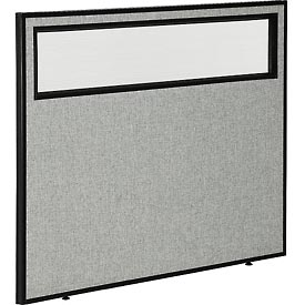 "Interion™ Office Partition Panel with Partial Window, 48-1/4""W x 42""H, Gray"