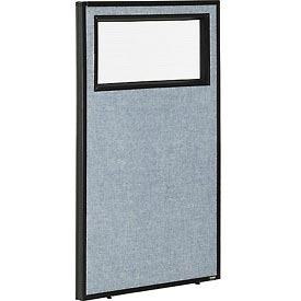 """Office Partition Panel with Partial Window, 24-1/4""""W x 42""""H, Blue"""