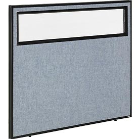"""Interion™ Office Cubicle Partition Panel with Partial Window, 48-1/4""""W x 42""""H, Blue"""