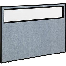 "Interion™ Office Cubicle Partition Panel with Partial Window, 60-1/4""W x 42""H, Blue"