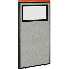 """Interion™ Deluxe Office Cubicle Partition Panel with Partial Window, 24-1/4""""W x 43-1/2""""H, Gray"""