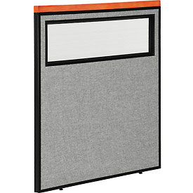 """Deluxe Office Partition Panel with Partial Window, 36-1/4""""W x 43-1/2""""H, Gray"""
