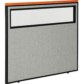 "Interion™ Deluxe Office Cubicle Partition Panel with Partial Window, 48-1/4""W x 43-1/2""H, Gray"