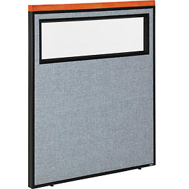 """Interion™ Deluxe Office Cubicle Partition Panel with Partial Window, 36-1/4""""W x 43-1/2""""H, Blue"""