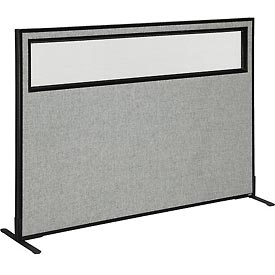 """Freestanding Office Partition Panel with Partial Window, 60-1/4""""W x 42""""H, Gray"""