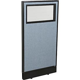 "Office Partition Panel with Partial Window & Raceway, 24-1/4""W x 46""H, Blue"