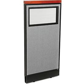"Interion Deluxe Office Cubicle Panel with Partial Window & Raceway, 24-1/4""W x 47-1/2""H, Gray"