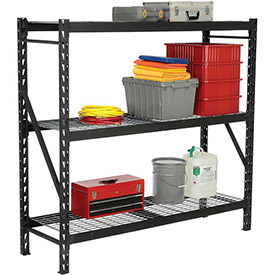 "Edsal - Heavy Duty Storage Rack with Wire Decking - Black 77""W x 24""D x 72""H"