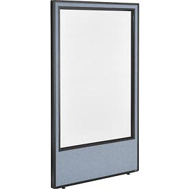 "Office Partition Panel with Full Window, 36-1/4""W x 60""H, Blue"