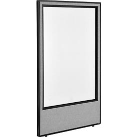 "Interion™ Office Cubicle Partition Panel with Full Window, 36-1/4""W x 60""H, Gray"