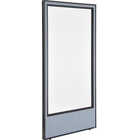 "Office Partition Panel with Full Window, 36-1/4""W x 72""H, Blue"
