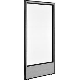"Office Partition Panel with Full Window, 36-1/4""W x 72""H, Gray"