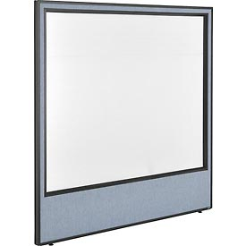 "Interion™ Office Cubicle Partition Panel with Full Window, 60-1/4""W x 60""H, Blue"