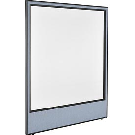 "Office Partition Panel with Full Window, 60-1/4""W x 72""H, Blue"