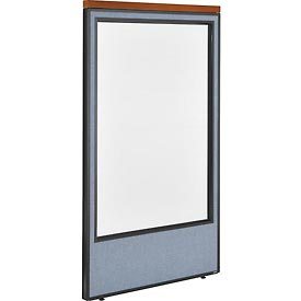 "Deluxe Office Partition Panel with Full Window, 36-1/4""W x 61-1/2""H, Blue"