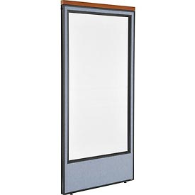 "Interion™ Deluxe Office Cubicle Partition Panel with Full Window, 36-1/4""W x 73-1/2""H, Blue"
