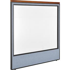 "Deluxe Office Partition Panel with Full Window, 60-1/4""W x 61-1/2""H, Blue"